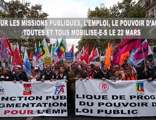 22 mars – Mobilisons partout dans la fonction publique  !