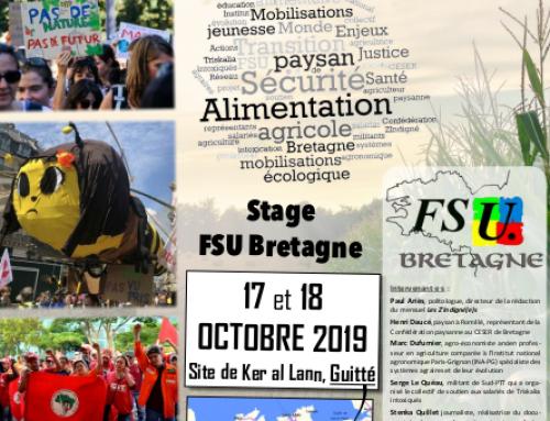Alimentation, santé, environnement – Une affluence record pour le stage d'automne de la FSU Bretagne